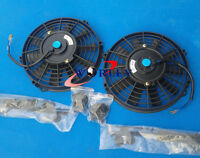 For 2 × 12 Inch Universal Electric Radiator Racing Cooling Fan + Mounting Kit