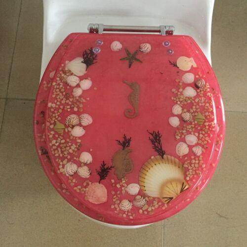 "Seahorse Seashells Acrylic Round shaped Toilet Seat Rose 17/"" INCH"