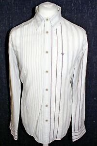 FAT-FACE-Mens-White-Striped-Large-Long-Sleeved-Shirt