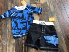 NWT Gymboree boy 2-piece blue shark TEETHING rashguard swim SET 3 6 12 18 24