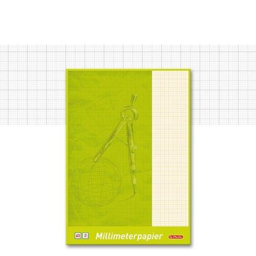 80g//m² Lineatur rot 0,08€//Blatt Millimeterpapier-Block Herlitz A4 umrandet