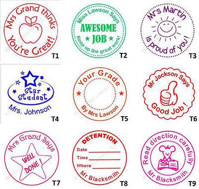 Personalised Custom Self Pre ink Teacher School Student Stamps Round 40mm