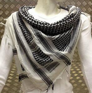 100-Cotton-Shemagh-Arab-Scarf-Pashmina-Wrap-Sarong-Black-on-White-NEW