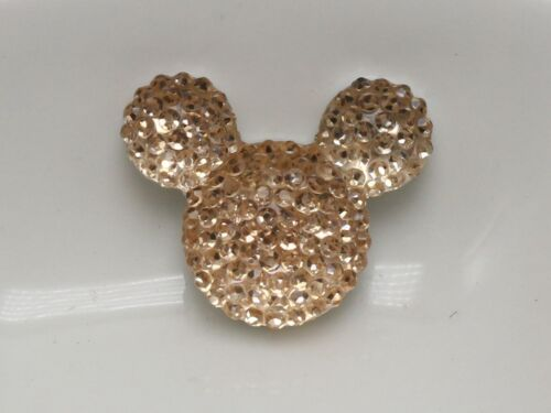 20 Champagne Flatback Resin Dotted Rhinestone Gems Mouse Head 24X20mm