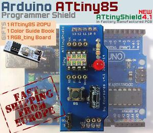 NEW-Arduino-Shield-4-1-ATtiny85-Programmer-FREE-GIFT-1-ATtiny-85-Guide-RGB-Led