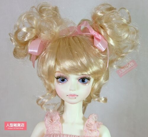 BJD Doll 1//4 7-8 Wig Short Curly Afro Bun Hair Braid Mohair for Girl Blonde
