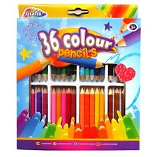 Box of 36 Colouring Pencils - Lots of different colours & storage pack - New