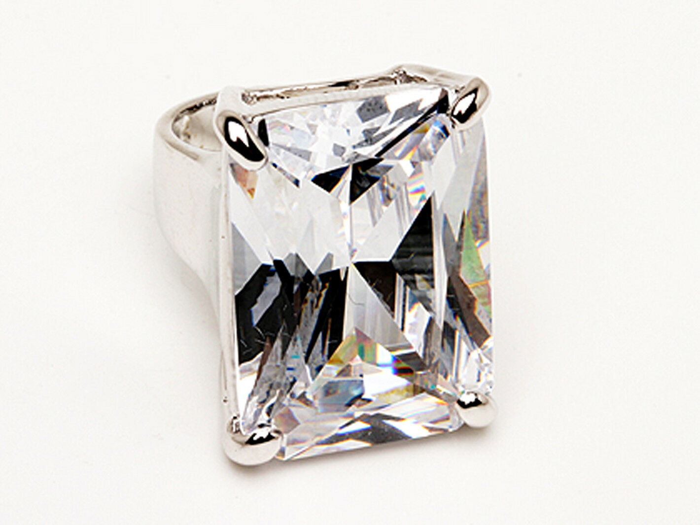 Huge 45ct Clear Cubic Zirconia Rhodium Plated Bling Bling Ring SZ 6 or 8