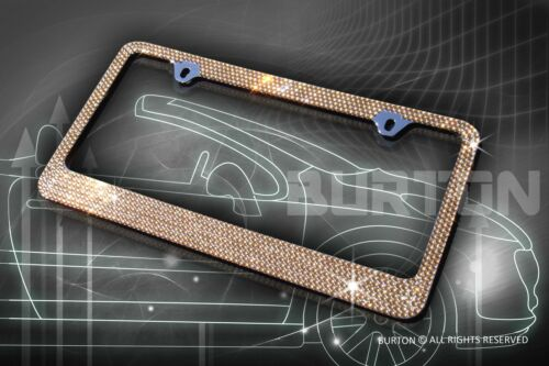 7 Rows Bling Brown Diamond METAL License Plate Frame//Caps//Screw