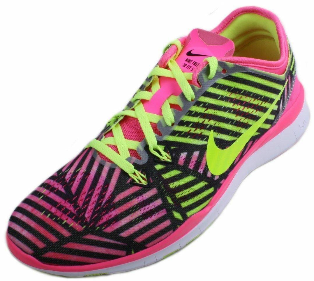Nike Free 5.0 TR 5 Fit PRT Womens Pink Pow Volt Black Cross Training Sneakers