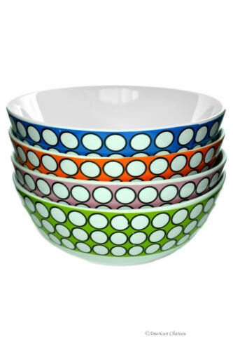 Set 4 Large 24oz Assorted Color Polka Dots Porcelain Soup Cereal Bowls