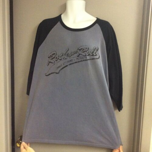 M Size 2XL NEW w// TAG ~ ROCK and ROLL HALL OF FAME T-SHIRT ~ BLUE and BLACK