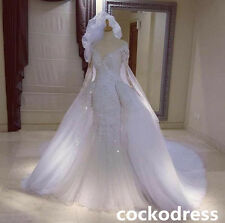 Luxury White Detachable Beaded Wedding Dress Mermaid Lace Appliques Bridal Gown
