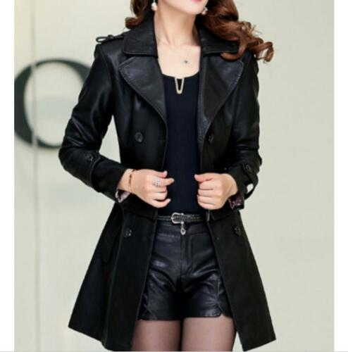 Womens Leather Detachable Belt AutumnTrench Outwear Overcoats Lapel Warm Jackets