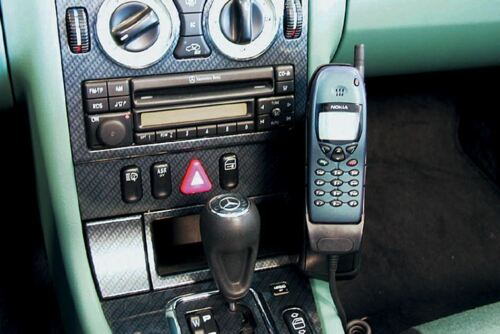 Bj 96-02//04 Premium-Leder Haweko Telefonkonsole fuer MB SLK Schwarz R170