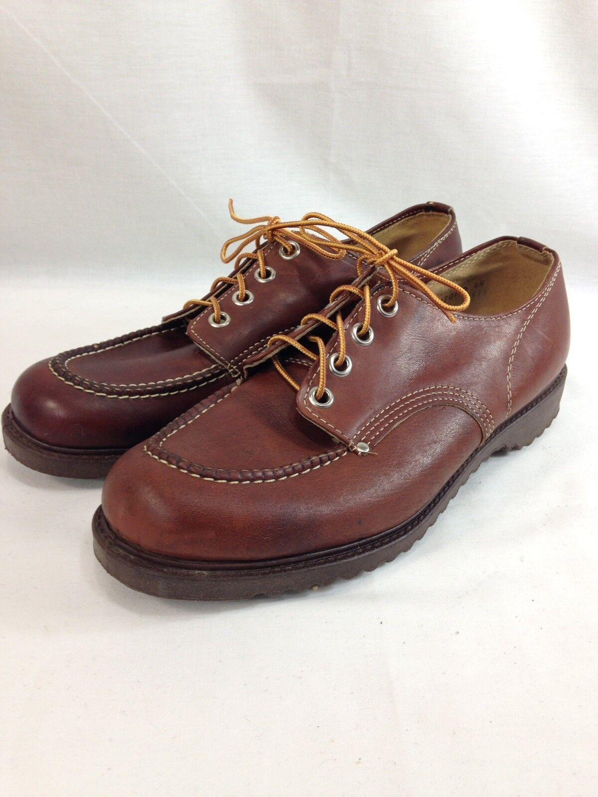 VTG Unbranded Engineer shoes Men 11 EE Brown Leather Oil Resistant Sole Moc Toe