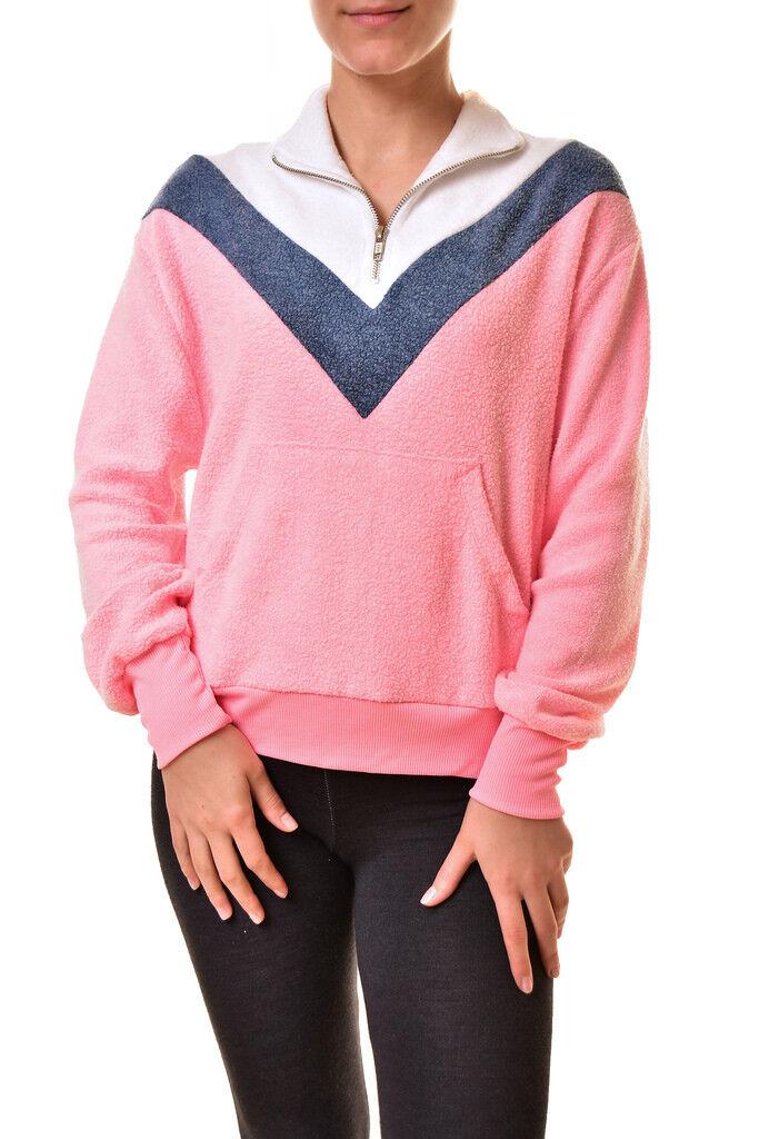 Wildfox Woherren Blocked Soto Warm Up WSF117 0 Sweater Rosa XS