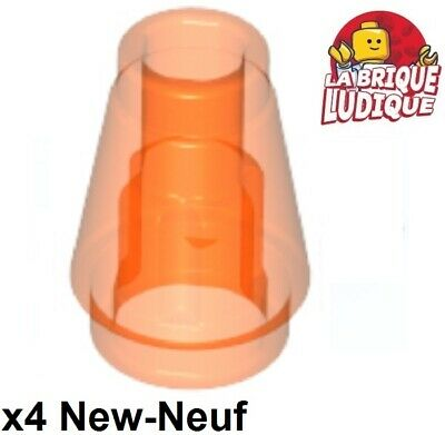 Lego 4x Cone 1x1 with Top Groove trans orange 4589b NEUF
