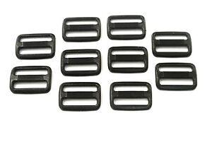 10-x-25mm-Black-Plastic-3-Bar-Slides-For-Webbing-Bags-Straps-Crafts-Etc