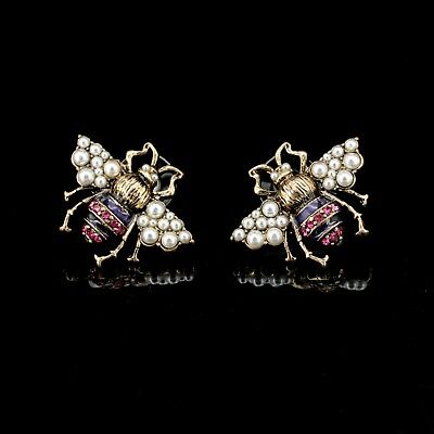 Ear Studs Silver Spider Insect Crabby Crystal Pink