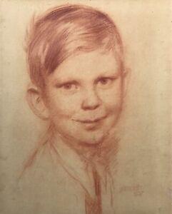 Gudmund-Hentze-1875-1948-Ritratto-uno-Lachelnden-Ragazzi-Bambino-Studenti