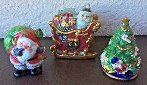FITZ & FLOYD Ceramic PORCELAIN Small SANTA in SLEIGH Planter/Salt/Pepper Shakers