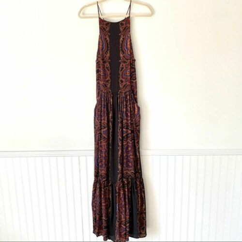 Free People Black Open Back Maxi Dress small