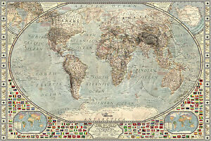Vintage world map with flags large maxi poster art print 91x61 cm image is loading vintage world map with flags large maxi poster gumiabroncs Images