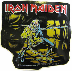 IRON MAIDEN Sticker Piece Of Mind SHAPED OFFICIAL Iron Maiden Holdings 1983 Eddi - STOKE ON TRENT, United Kingdom - IRON MAIDEN Sticker Piece Of Mind SHAPED OFFICIAL Iron Maiden Holdings 1983 Eddi - STOKE ON TRENT, United Kingdom
