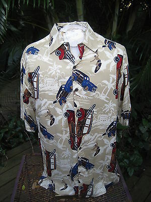 HAWAIIAN Aloha SHIRT M pit to pit 24 NATURAL ISSUE rayon vintage woodies LRL