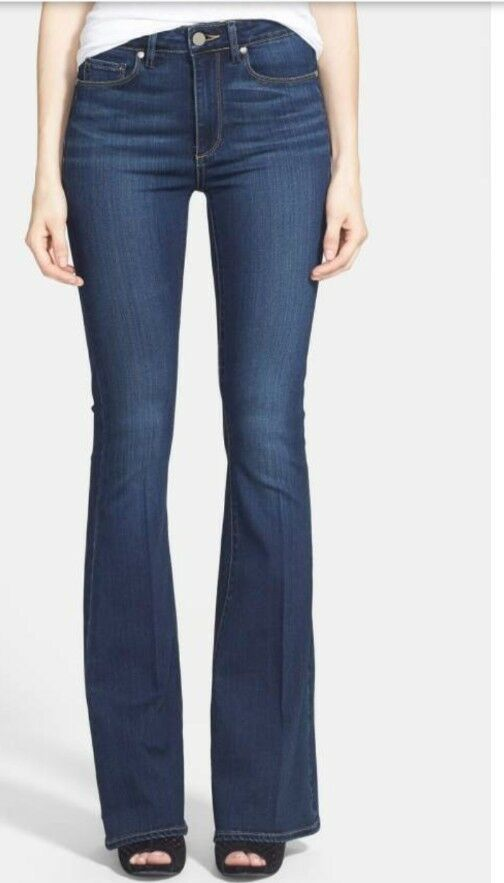 NEW PAIGE HIGH RISE BELL CANYON FLARE JEANS IN NOTTINHAM SIZE 29 P
