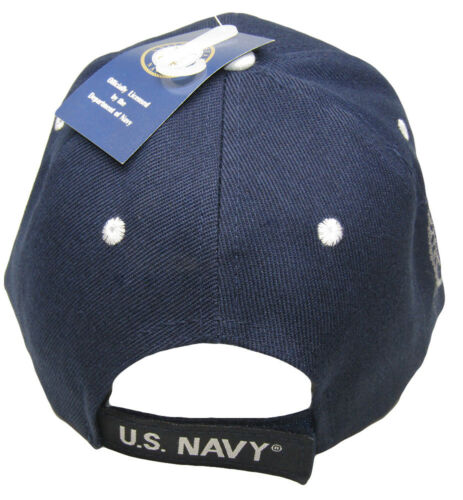 United States Navy Emblem US Navy On Bill Navy Blue Shadow Embroidered Cap Hat