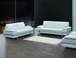 Image Is Loading Contemporary White Genuine Italian Leather Sofa Set 2