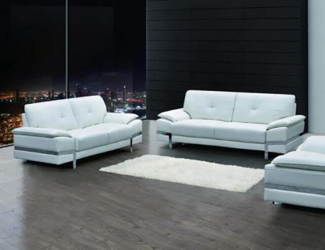 White Genuine Italian Leather Sofa Set