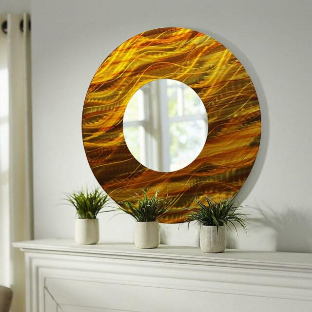 Gold/amber Abstract Large Round Metal Wall Art Mirror Decor Accent ...