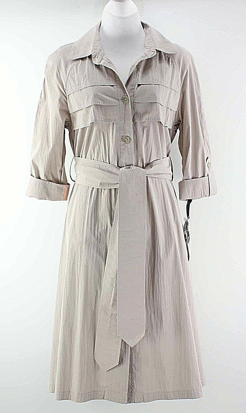 Doo Ri NEW  Sz S Taupe Self Belt Button Front Cotton Nylon Trench Dress F113
