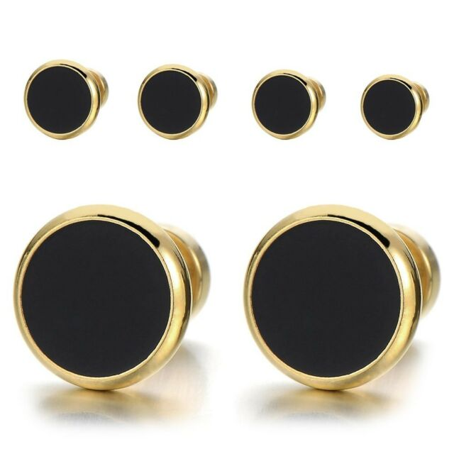 18a64035541a7 8mm Mens Womens Gold Black Stud Earrings Stainless Steel Illusion Tunnel  Plug SC