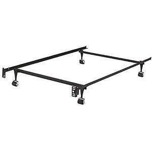 Heavy Duty Metal Twin Size Bed Frame With Rug Rollers Locking Wheels