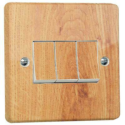 Wood Effect Beech Light Switch Sticker for Crabtree Triple 3-Gang FULLY WRAPPED