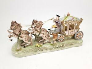 Vintage-German-Porcelain-Statuette-Coach-Horses-with-Carriage
