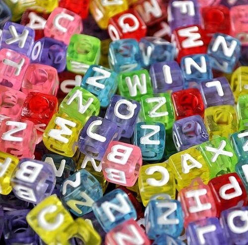 100pcs cube assorted colourful alphabet letter acrylic beads 6mm