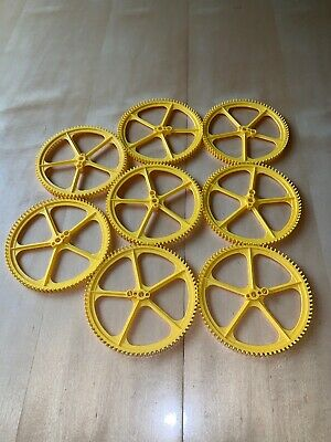 """K/'nex Replacement Peices Lot of 8 Knex Large Big Yellow 5/"""" inch Crown Gear"""