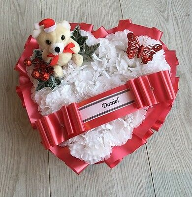 ARTIFICIAL CHRISTMAS WREATH FLOWERS HEART MEMORIAL GRAVE RED TEDDY POINSETTIA