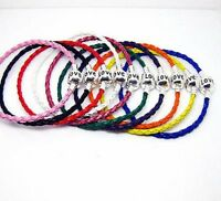 European Style Leather Bracelet with Silver Plated Barrel Clasp that says Love