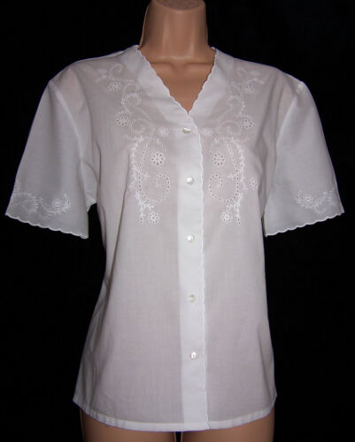 Cotton Vintage Scalloped Edge Ashley 12 Gauze Nwt Laura Embroidered Uk Blouse TqCff