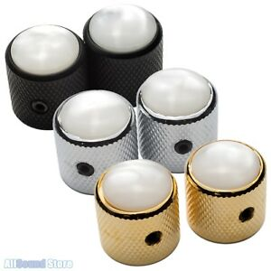 NEW-2-Metal-Dome-Control-Knobs-w-WHITE-PEARL-Top-for-6mm-Pots-Guitar-Bass