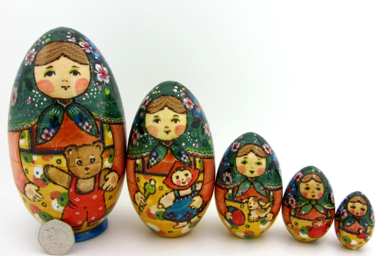 UOVO Ryabova martryoshka Autentico bambole russe a matrioska dipinti a mano 5 Teddy Toys