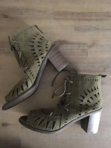 New Breckelles Gabby Olive Low Boot Sandal w// Open Toe Heel 5 1//2-10 US