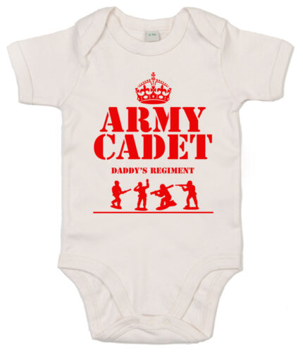 """Funny Baby Bodysuit /""""Army Cadet in Daddy/'s Regiment/"""" Babygrow Daddy is a Soldier"""