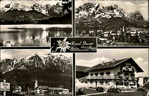 Krün Oberbayern Mehrbild-AK ca. 1960/65 See Totale Berge Gasthof Hansl Bauer